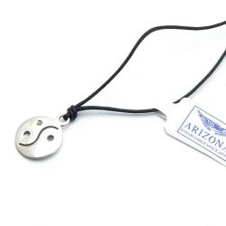Ketting, zwart koord, sterling zilveren hanger (1 st.)