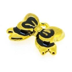 Metaal, bedel, goud, zwart emaille, strikje, 10 x 14 mm (5 st.)