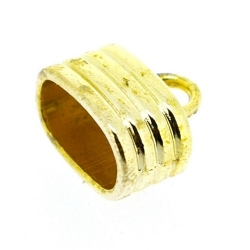 Metaal, eindkap, goud, 13 x 15 mm, binnenmaat 12 x 7 mm (6 st.)