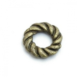 Metaal, spacer, antique goud, rond, 10 mm (10 st.)