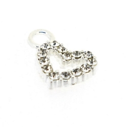 Bedel zilver strass hart 15 mm (3 st.)