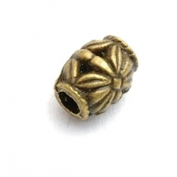 Metalen kraal, tonnetje, antique goud, 10 mm (10 st.)