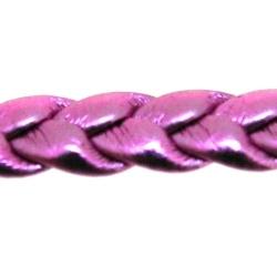 PU leer, plat, gevlochten, roze, metallic, 8 mm (3 meter)