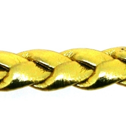 PU leer, plat, gevlochten, goud, metallic, 8 mm (3 meter)
