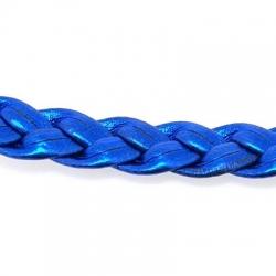 PU leer, plat, gevlochten, blauw, metallic, 8 mm (3 meter)
