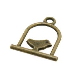 Metaal, bedel, antique goud, vogelkooi, 18 mm (5 st.)