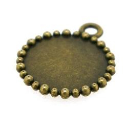 Metaal, bedel, antique goud, rond, 22 mm (3 st.)