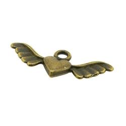 Metaal, bedel, antique goud, hartje met vleugels, 11 x 28 mm (5 st.)