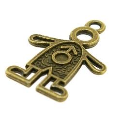 Metaal, bedel, antique goud, jongetje, 24 mm (3 st.)