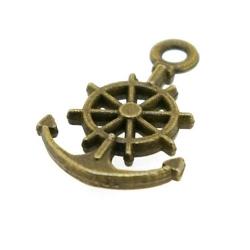 Metaal, bedel, antique goud, anker, 21 mm (5 st.)