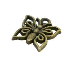 Metaal, bedel, antique goud, vlinder, 14 mm (5 st.)