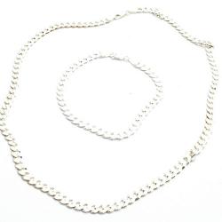 Ketting en armband, zilver, platte schakel (1 st.)