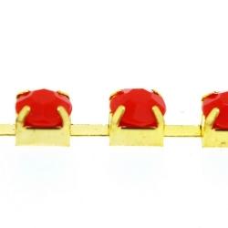 Cupchain goud strass rood 6mm (1 mtr.)