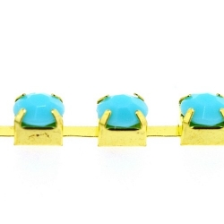 Cupchain goud strass turquoise 6mm (1 mtr.))