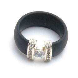 Ring, zwart met zirconia's, maat 17 (1 st.)