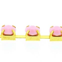 Cupchain goud strass roze 6mm (1 mtr.)