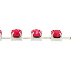 Cupchain zilver strass roze 3mm (2 mtr.)