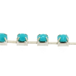 Cupchain zilver strass turquoise 3mm (2 mtr.)
