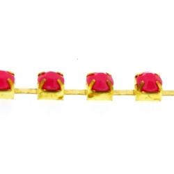 Cupchain goud strass roze 3mm (2 mtr.)