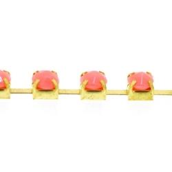 Cupchain goud strass peach 3mm (2 mtr.)