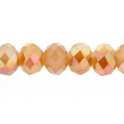 Facetkraal, donut, duo-tone, brons/lichtroze, 3 x 4 mm (streng)
