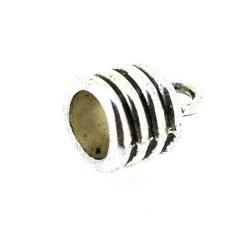 Eindkapje, antique zilver, rond, 14 mm, binnenmaat 6.7 mm (4 st.)