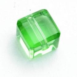 Glaskraal, blokje, donkergroen, 8 x 8 mm (10 st.)