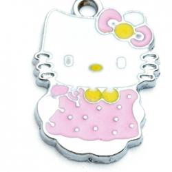 Metaal, bedel, Hello Kitty, strik, staand, roze, 26 mm (1 st.)