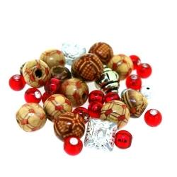 Mix, bruin/zilver/rood (ong. 50 gram)