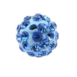 Shamballa kraal rond blauw 10 mm (10 st.)