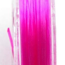 Elastiek rijgdraad 0.8mm plat roze (10 mtr.)