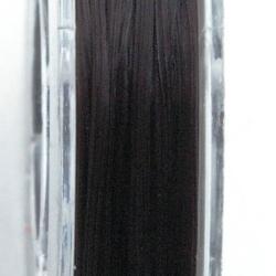 Elastiek rijgdraad 0.8mm plat zwart (10 mtr.)