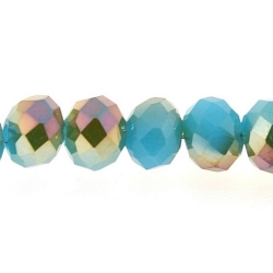 Facet, kraal, donut, duo-tone, turquoise/goud, 5 x 6 mm (streng)