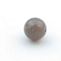 Agaat, kraal. rond, facet, grijs, 14 mm (5 st.)