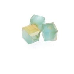 Glas, kraal, blok, zeegroen/goud, 4 x 4 mm (streng)