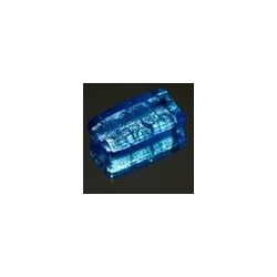 Glaskraal, rechthoek, turquoise/zilverfolie, 37 x 21 mm (1 st.)
