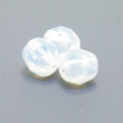 Tsjechisch glas, kraal, rond, facet, White Opal, 4 mm (65 st.)