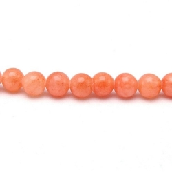 Gekleurd steen kraal, rond, koraal, 4 mm (streng)