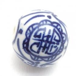 Keramiek kraal, rond, visgraat, Delfts blauw, 20 mm (3 st.)