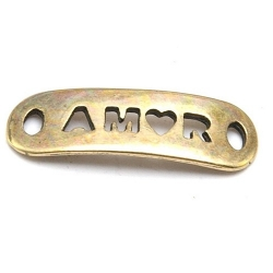 DQ tussenstuk antique goud quote AMOR 25 x 8 mm (2 st.)