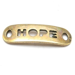 DQ tussenstuk antique goud quote HOPE 25 x 8 mm (2 st.)