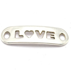 DQ tussenstuk quote zilver LOVE 25 x 8 mm (2 st.)