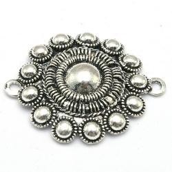 DQ tussenstuk antique zilver Zeeuwse knop 43 x 36 mm (1 st.)