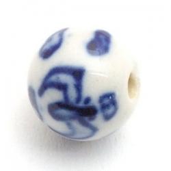Keramiek kraal, rond, Delfts blauw, 12 mm (5 st.)