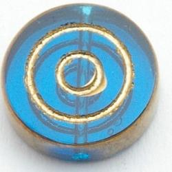 Glaskraal, rond, petrol/goud, cirkels, 16 x 5 mm (5 st.)