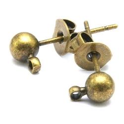 Oorsteker met oogje en achterkantje, antique goud, 6 mm (10 st.)