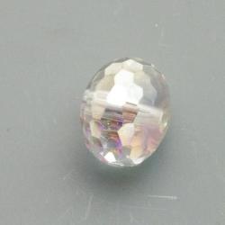 Glaskraal, rond (afgeplat), facet, crystal AB, 14x18mm (5 st)