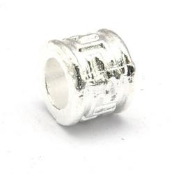 Metaal kraal, rond, zilver, 6 mm (5 st.)