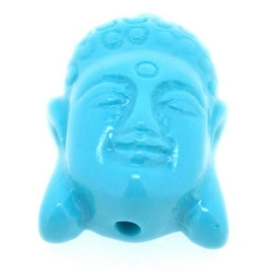 Resin kraal, boedha, turquoise, 28 mm (3 st.)