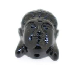 Resin kraal, boedha, zwart, 22 mm (5 st.)